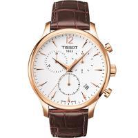 TISSOT 天梭 T-TRADITION 尊爵超薄三眼計時男錶(白面/金框) T0636173603700