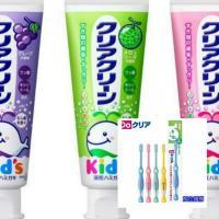 日本原裝進口 KAO 兒童牙膏(葡萄/草莓/哈蜜瓜)3款選擇70g*6+【日本SUNSTAR】巧虎兒童牙刷(6~12歲)*6