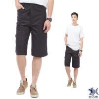 【NST Jeans】002(9410) 鋼鐵男子 質感光澤黑印花 七分休閒褲(中高腰 鬆緊帶 寬版)-行動