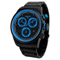 elegantsis Clasic Fashion 潮流玩色計時腕錶-黑x藍/44mm ELJT49-JU05MA