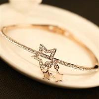 【米蘭精品】玫瑰金純銀手鍊鑲鑽手環簡約精選星星73bx39