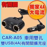 WirePRO 車用雙孔雙USB(4A)獨立開關電源擴充座