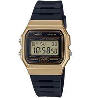 【CASIO】 運動小子電子錶-黑x金框 (F-91WM-9A)