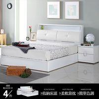 【AT HOME】凱渥5尺白色雙人床4件組(床頭箱/床底/床墊/床頭櫃)