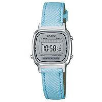 【CASIO】 經典小巧簡約數位皮帶錶-灰面X水藍錶帶 (LA-670WL-2A)