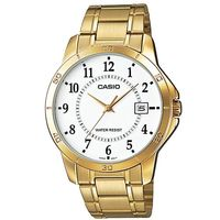 【CASIO】 經典復古時尚簡約指針紳士日曆腕錶-金X數字白面 (MTP-V004G-7B)