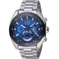 ALBA 雅柏 廣告款時尚三眼計時腕錶 VK63-X027B 藍 AU2185X1