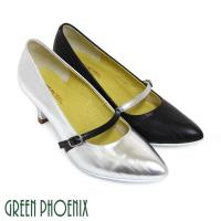 【GREEN PHOENIX】BIS-VITAL 復古直條紋義大利小羊皮中跟尖頭瑪莉珍鞋-銀色、黑色