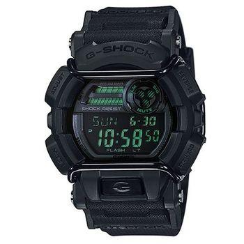 【CASIO】G-SHOCK堅毅配備防撞裝置運動休閒錶-霧面黑X綠 (GD-400MB-1)