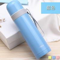 PUSH 不銹鋼雙層無尾真空 保溫瓶保溫杯 藍色 500ml