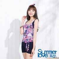 【夏之戀SUMMERLOVE】大女連身四角印花泳裝E16701
