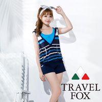 【夏之戀TRAVEL FOX】大女經典條紋長版四件式泳裝C16710