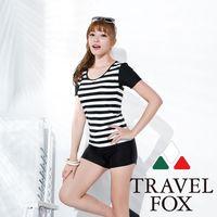 【夏之戀TRAVEL FOX】大女黑白條長版二件式泳衣-加大碼C16716