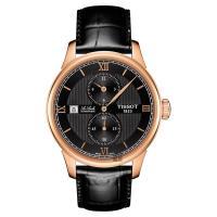 TISSOT 天梭 LE LOCLE 力洛克雅仕機械腕錶-黑x玫瑰金框/40mm T0064283605802