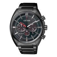 CITIZEN 星辰 光動能碼錶三眼計時男錶-鍍黑/45mm(CA4285-50H)