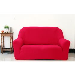 Osun-一體成型防蹣彈性沙發套/沙發罩_2人座 素色款 富貴紅