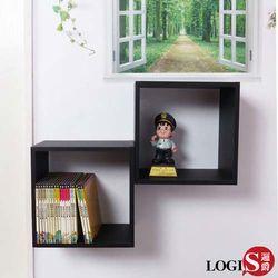 LOGIS~ B34-B 黑白魔術口格子壁櫃 壁架 展示櫃-正方形兩入組