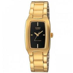 【CASIO】 清新時尚酒桶型指針腕錶-黑X金 (LTP-1165N-1C)