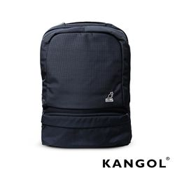 KANGOL 韓國石匠系列-墨色經典款防潑水男女休閒機能後背包(黑 KG1156-02)