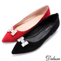 【Deluxe】全真皮優雅質感H字方形水鑽尖頭包鞋(紅-黑)-2645-12