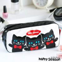 任-【Happy Season】化妝包/收納包/筆袋-Cat貓(黑)