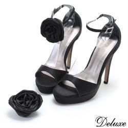 【Deluxe】法式優雅緞面活動花型高跟鞋(黑)-063-3