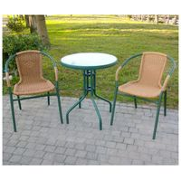 BROTHER 兄弟牌60cm庭院圓桌+PE藤椅(綠色)