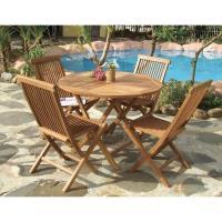 BROTHER 兄弟牌印尼柚木古典折疊80cm圓桌+柚木古典折疊椅