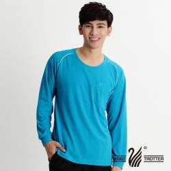 【遊遍天下】MIT中性款吸濕排汗抗UV長袖圓領衫L038(湛藍)