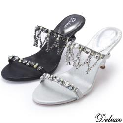 【Deluxe】垂墜水晶鏡面造型高跟鞋(銀★黑)-520-9