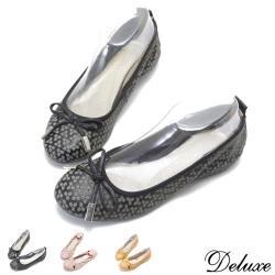 【Deluxe】全真皮可愛印花細蝴蝶結透氣柔軟娃娃鞋(黑-黃-粉)-2036-12