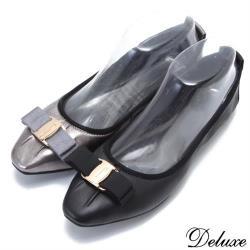【Deluxe】全真皮方頭抓皺柔軟蝴蝶結口袋鞋(黑☆灰)-232-1