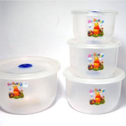 Honey熊 密封微波保鮮盒-圓形(4入/組)x3組