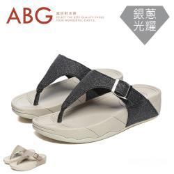 【ABG】晶亮銀蔥.夾腳踝扣.MD彈力女拖鞋(7688)