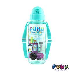 任-PUKU藍色企鵝 動物列車Tritan水壺500ml-湖水綠
