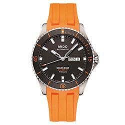 MIDO美度 OCEAN STAR海洋之星80動力鈦潛水機械錶 灰x橘 42mm M0264304706100