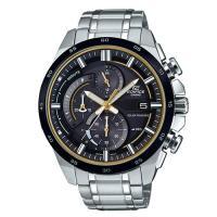 【CASIO】EDIFICE 流線速度立體感太陽能計時賽車錶-黃秒針X黑框 (EQS-600DB-1A9)