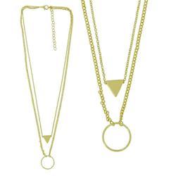 【摩達客】三角與圓雙層金色項鍊