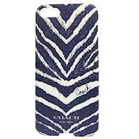 COACH 斑馬紋 iPhone 5 手機保護殼(深藍)