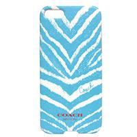COACH 斑馬紋 iPhone 5 手機保護殼(水藍)
