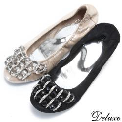 【Deluxe】優雅金屬環水鑽串珠娃娃鞋(黑☆金)-905-2