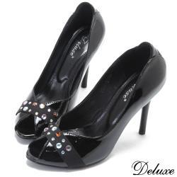 【Deluxe】經典時尚閃耀彩鑽魚口高跟鞋(黑)-6091-11
