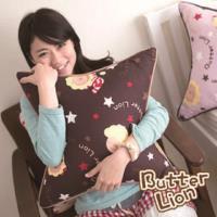 限時65折【奶油獅】正版授權 台灣製造-搖滾星星可拆洗方型抱枕-咖啡(一入)