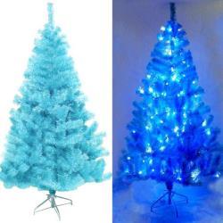 摩達客 台灣製10呎/10尺(300cm)豪華版冰藍色聖誕樹(不含飾品)+100燈LED燈藍白光6串(附IC控制器)