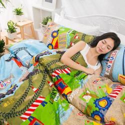 eyah宜雅 全程台灣製100%頂級精梳棉雙人床包枕套三件組-大寶小寶的工程車城市