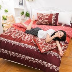 eyah宜雅 全程台灣製100%頂級精梳棉雙人床包枕套三件組-法國洛可可的浪漫-暗紅