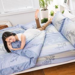 eyah宜雅 全程台灣製100%頂級精梳棉雙人加大床包枕套三件組-與你在夢里相遇-海洋藍