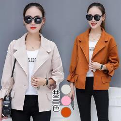 韓國K.W. L~2XL韓系率性時尚西裝領毛呢外套