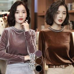韓國K.W. XL~3XL高雅名媛金絲絨鑲鑽拼接上衣