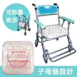 【富士康】摺疊馬桶椅 FZK-4542 綠色(便器椅 洗澡椅 附輪可收合)
